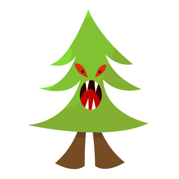 coniferous tree monster fir tree with green top red evil eyes and open mouth with sharp fangs vector art illustration