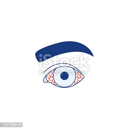 Conjunctivitis icon isolated on white background. Watery red eye Thin line logo. Viral infection season allergy eye disease virus inflammation symptom Outline ophthalmology medical vector illustration