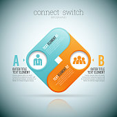 Vector illustration of connect 2 two switch infographic elements. ZIP file contains optional editable AI, EPS, and PSD files.