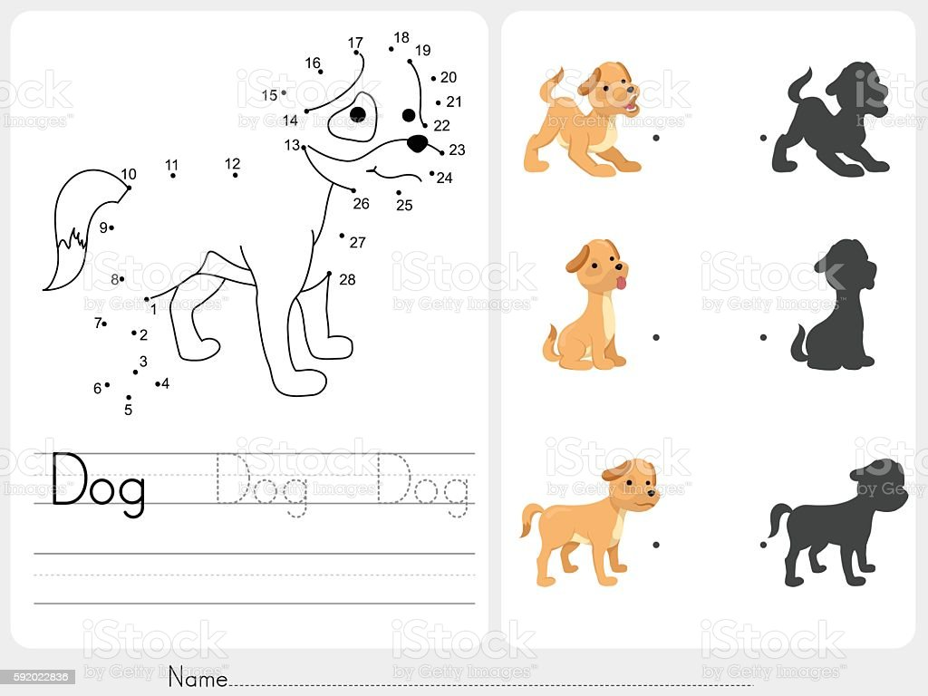Connect dots and Match dog with shadow - Worksheet for education