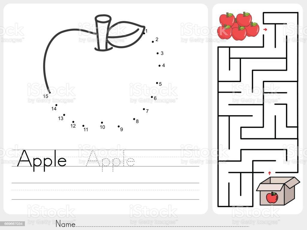 Verbinde Punkte Und Wählen Sie Apple Boxlabyrinthspiel Arbeitsblatt ...