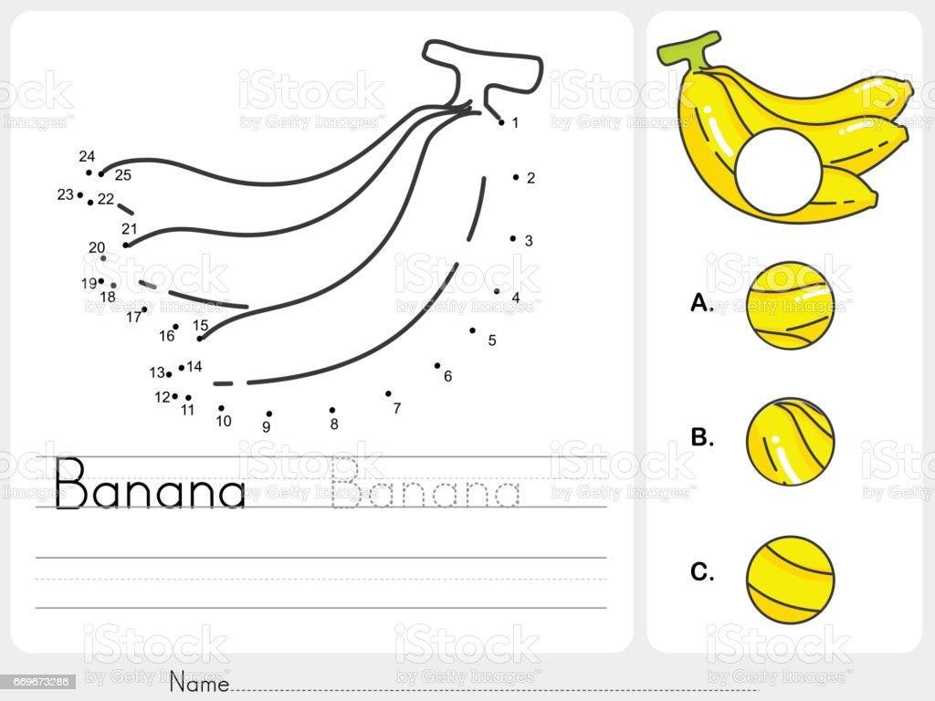 verbinde die punkte von banane und fehlende foto arbeitsblatt f r bildung finden stock vektor. Black Bedroom Furniture Sets. Home Design Ideas