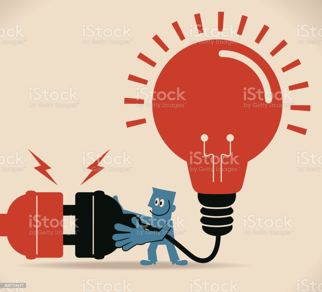 Connect Idea One Businessman Holding Huge Wired Electrical Plug Of ...