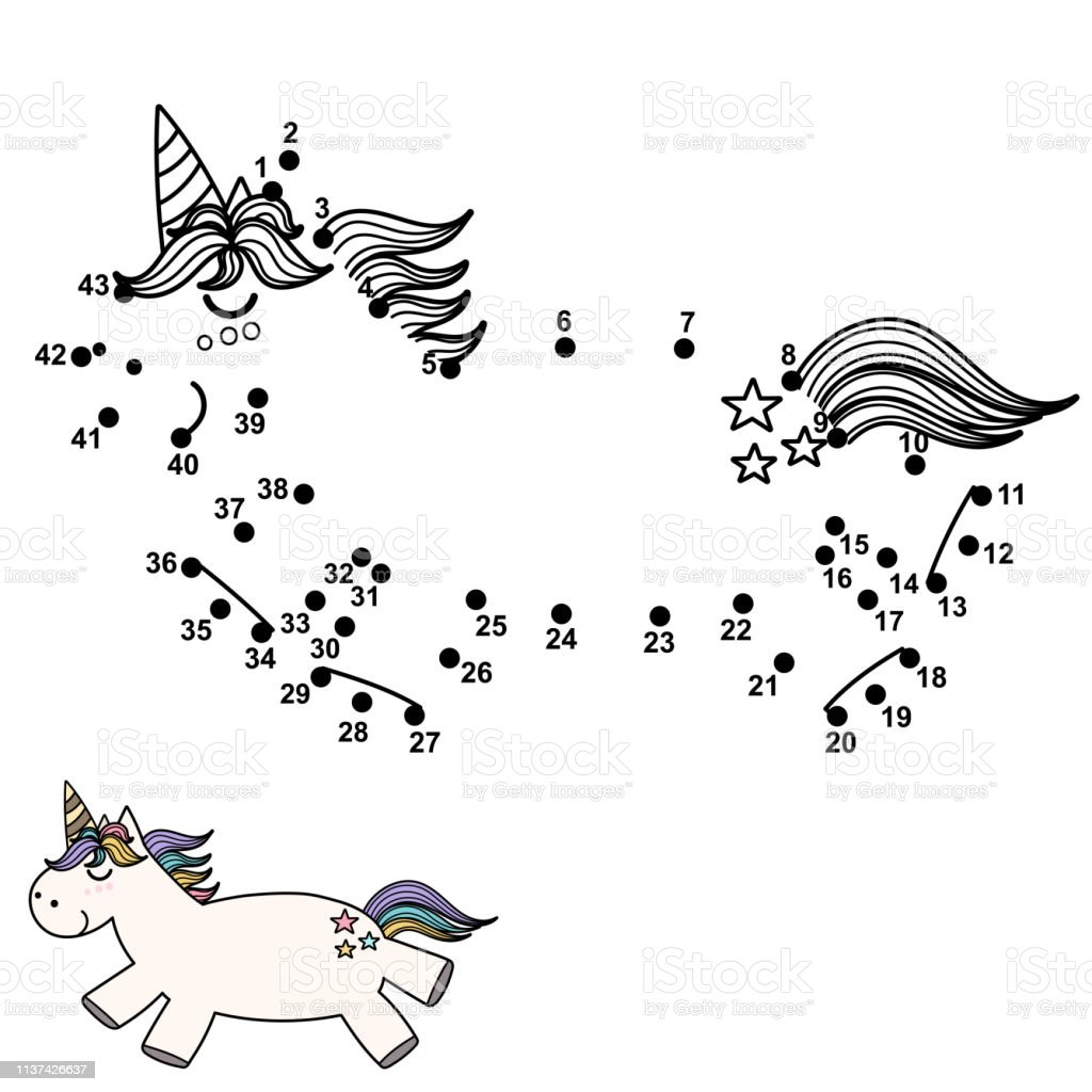 Connect The Dots And Draw A Cute Unicorn Stock Illustration