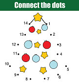 Connect the dots by numbers children educational game. Printable worksheet activity. New Year, Christmas holidays theme