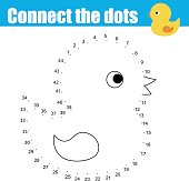 Connect the dots children educational drawing game. Dot to dot by numbers game for kids. Animals theme. Printable worksheet activity with cute bath duck toy