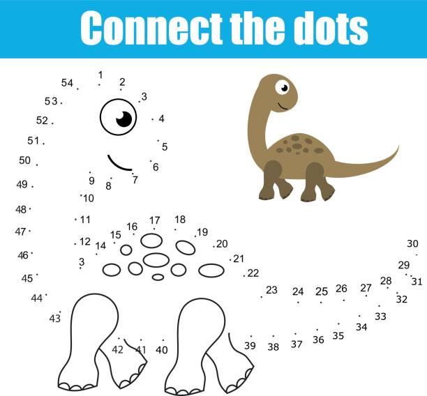 verbinde die punkte von zahlen kinder lernspiel. druckbare arbeitsblatt aktivität. thema tiere, dinosaurier - zahlenspiele stock-grafiken, -clipart, -cartoons und -symbole