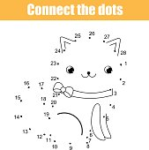 Connect the dots by numbers children educational game. Printable worksheet activity. Animals theme, cat