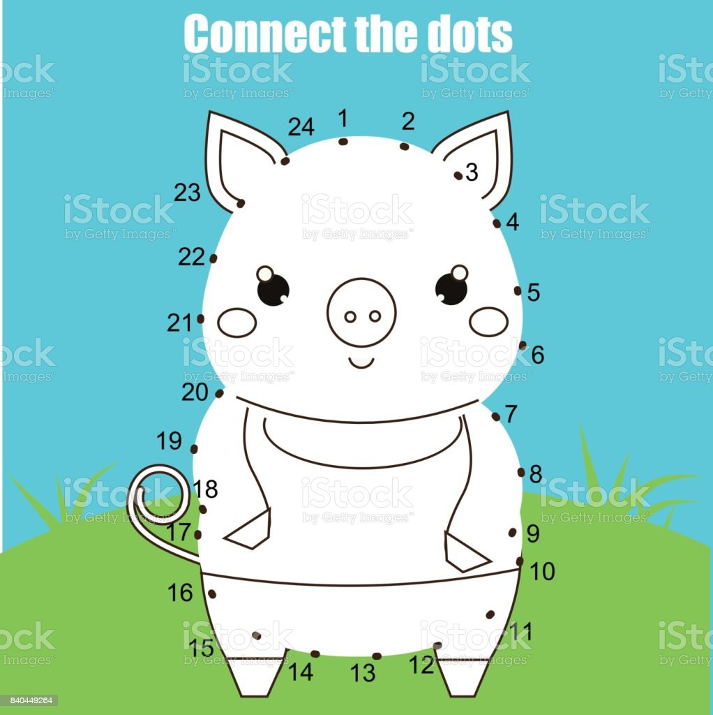 Connect The Dots By Numbers Children Educational Game Printable ...