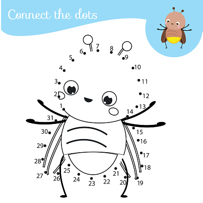 Connect the dots. Dot to dot by numbers activity for kids and toddlers. Children educational game. Cartoon firefly bug