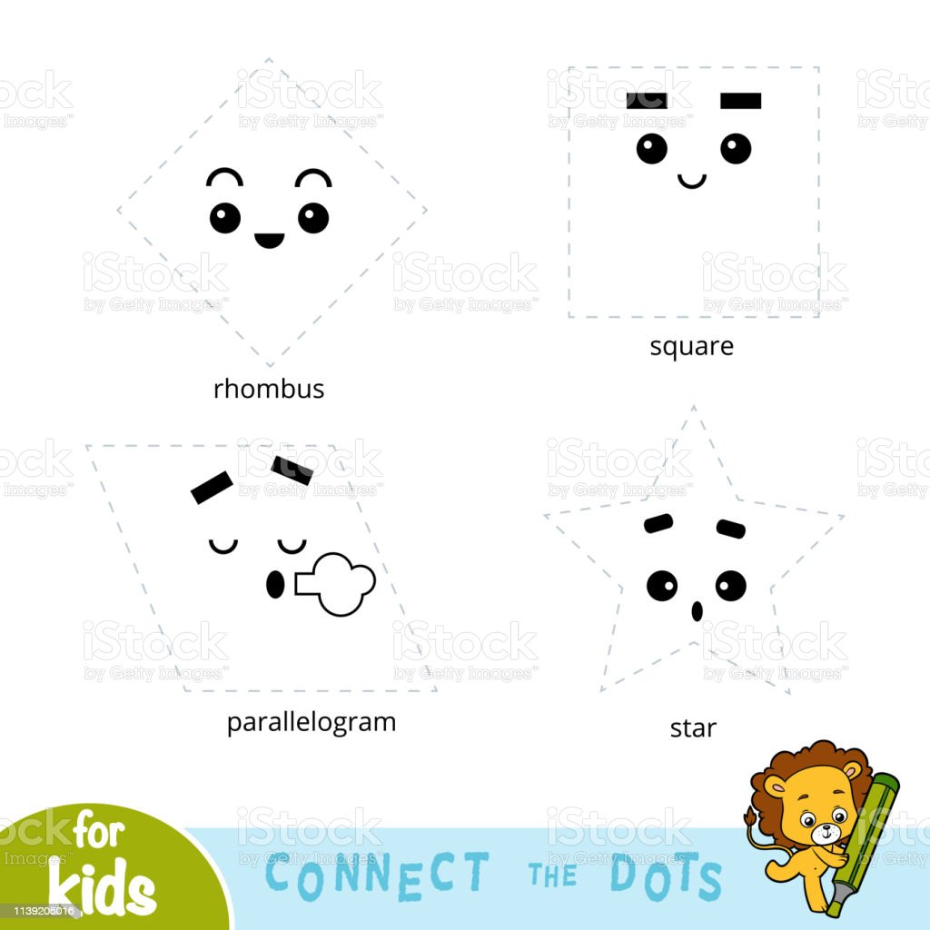 Connect The Dots Education Game For Children Geometric Shapes