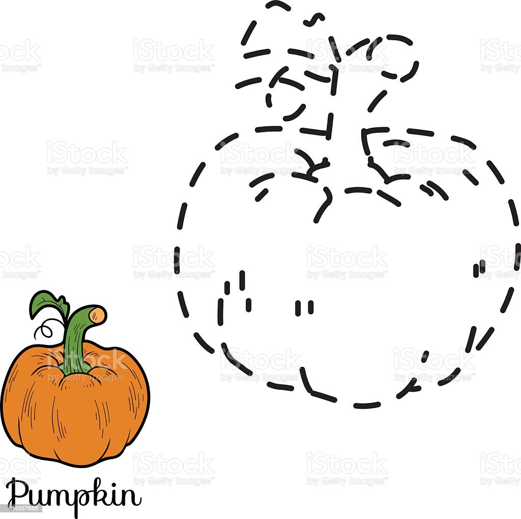 connect the dots game fruits and vegetables stock vector art