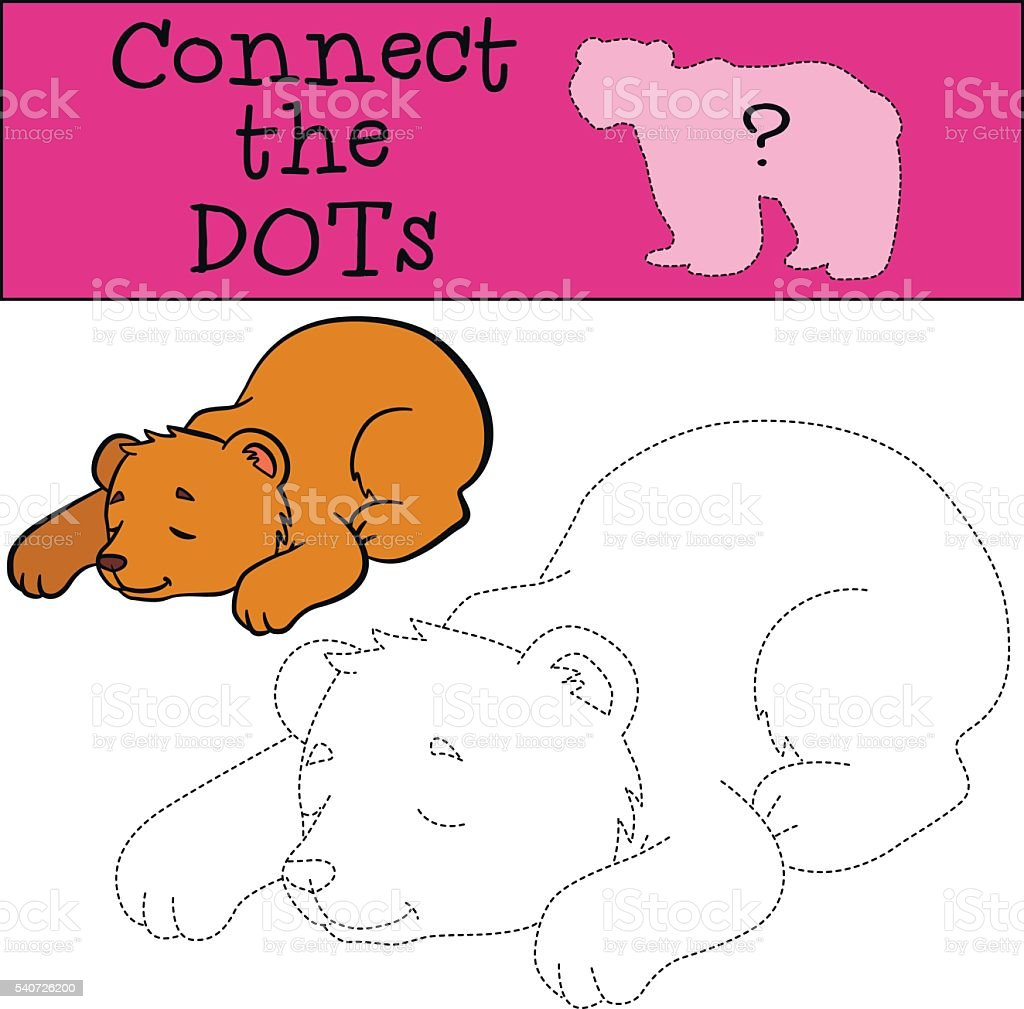 点つなぎます小さなかわいい寝室クマの赤ちゃんます お絵かきのベクターアート素材や画像を多数ご用意