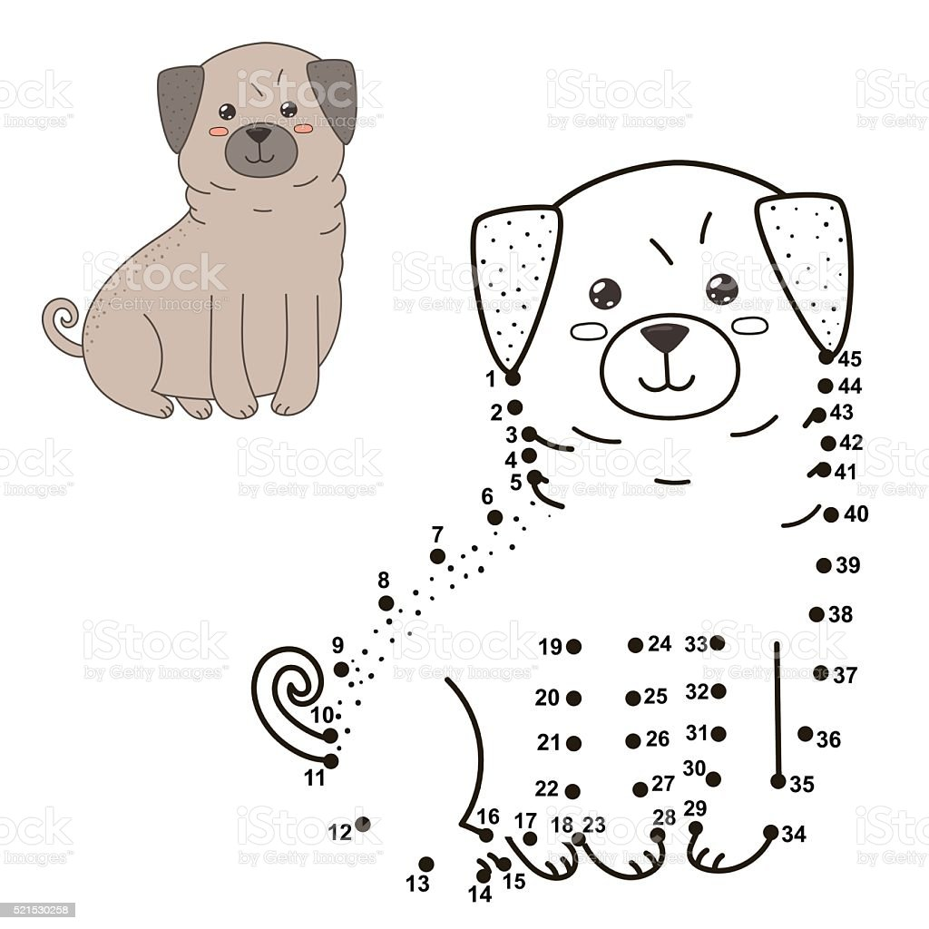 connect the dots to draw the cute dog and color it stock vector