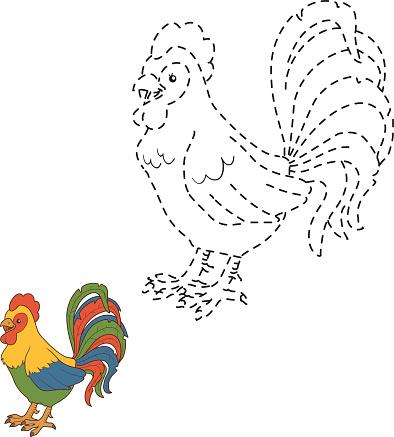 Połącz Kropki Rooster - Stockowe grafiki wektorowe i więcej ...