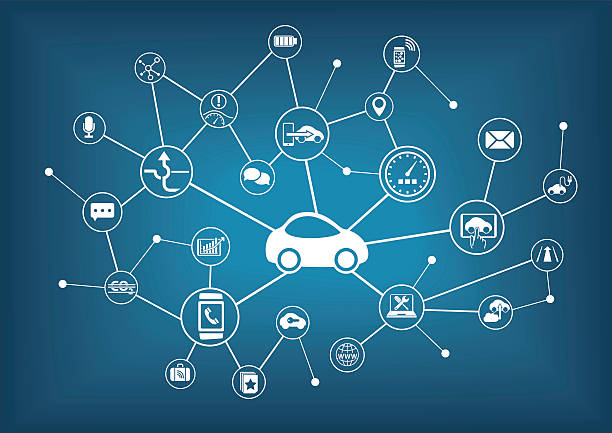 Connected car vector illustration. Concept of connecting to vehicles Connected car vector illustration. Concept of connecting to vehicles with various devices. automobile industry stock illustrations