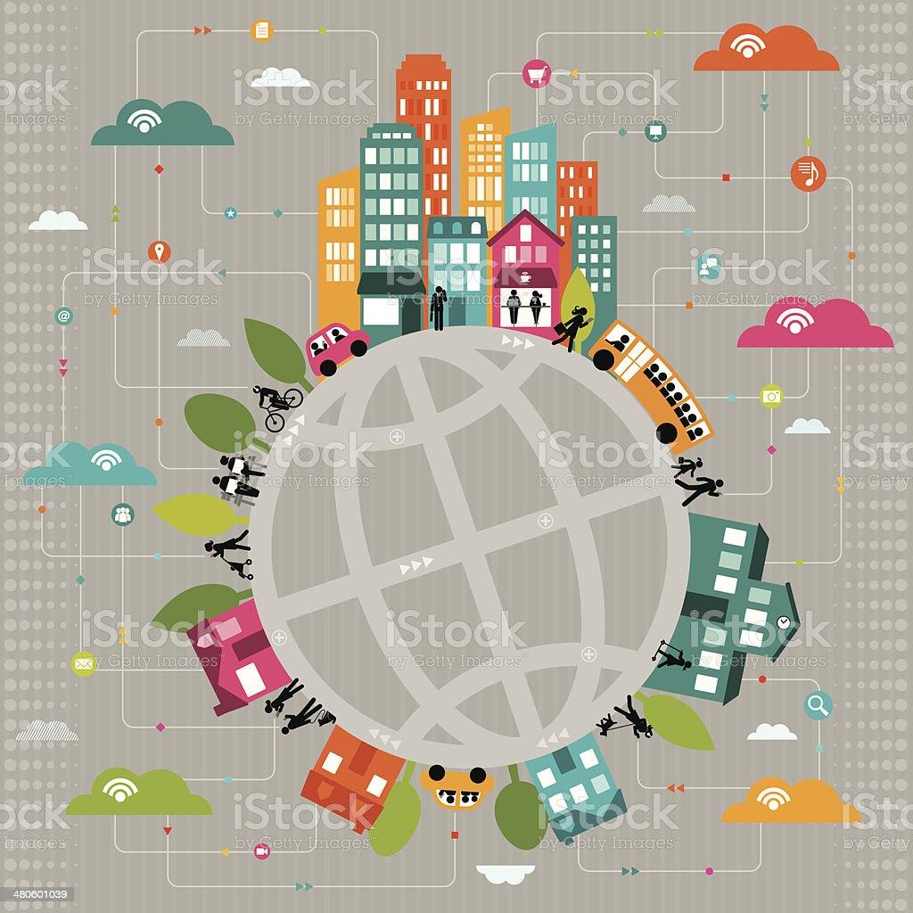 Conectado a las comunidades de todo el mundo - ilustración de arte vectorial