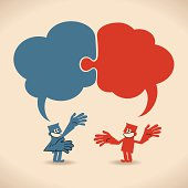 istock Connected jigsaw puzzle speech bubbles above talking smiling business people 165797339