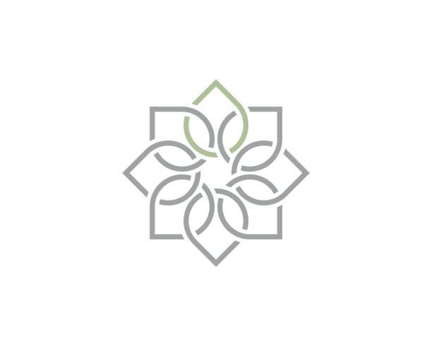 ilustrações, clipart, desenhos animados e ícones de ioga conectado folha ilustração - lotus