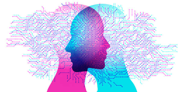 a.i. connected minds - facial recognition stock illustrations