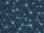 Hexagonal connected digital data network background