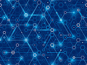 Hexagonal connected digital data network background