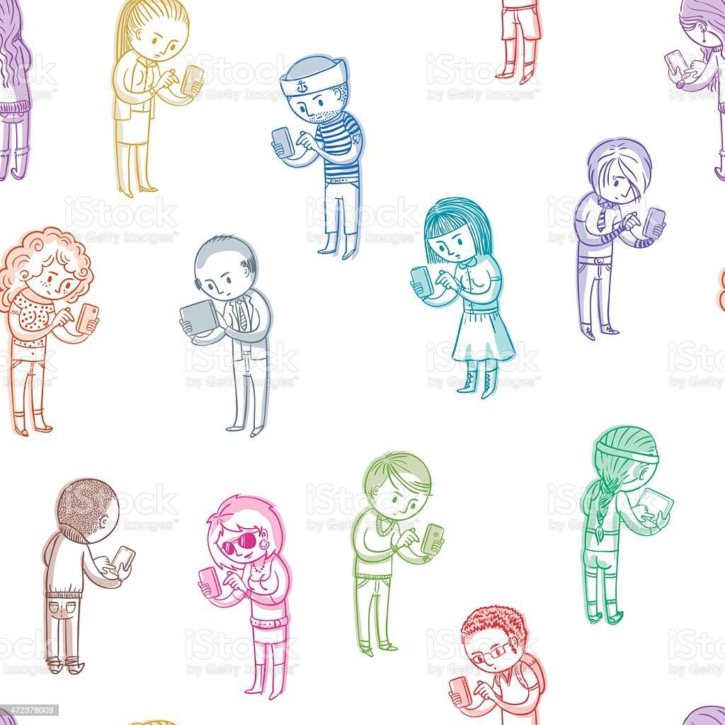 Nahtlose Muster mit Personen – Vektorgrafik