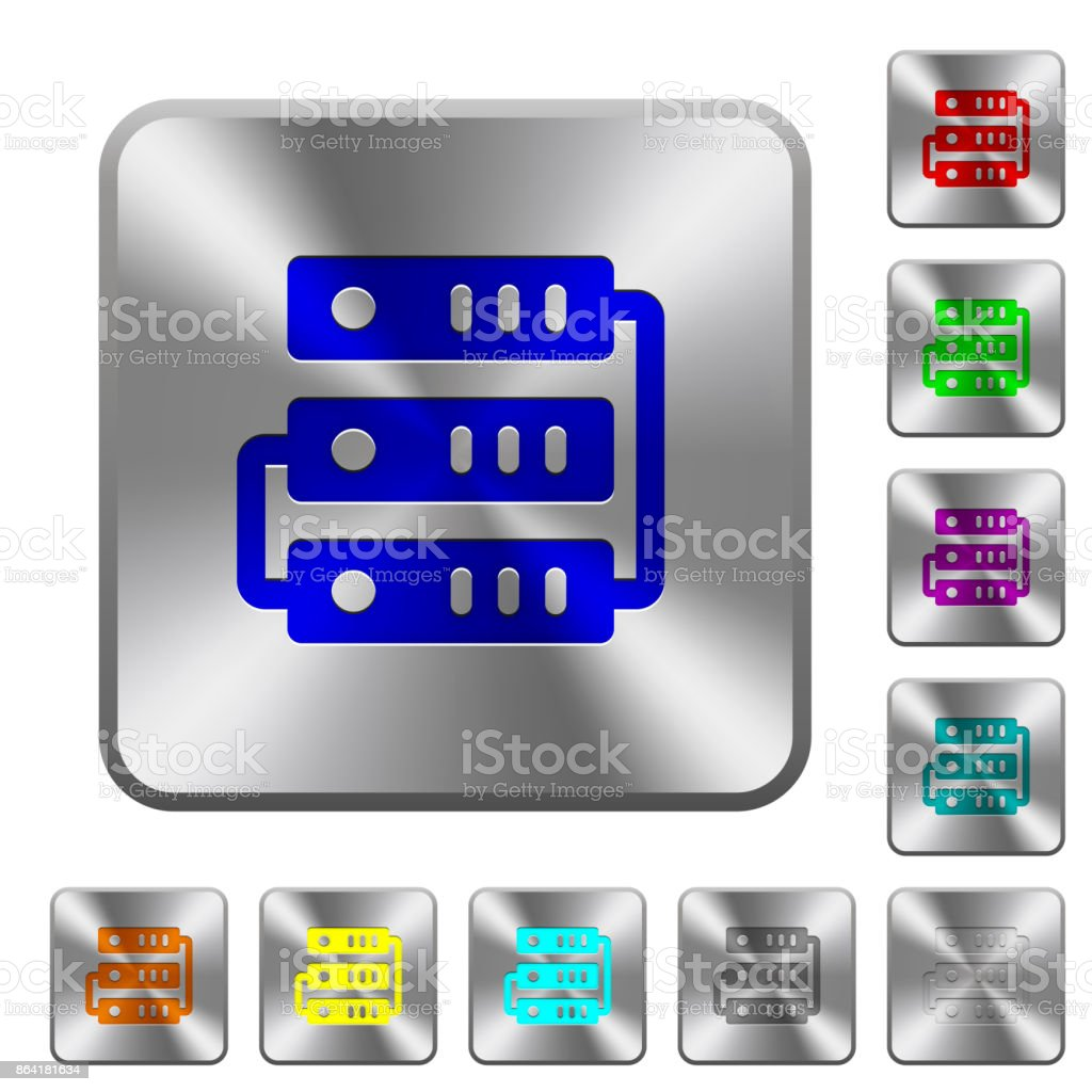 Connected servers rounded square steel buttons royalty-free connected servers rounded square steel buttons stock vector art & more images of backup