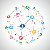 Scalable EPS10 vector illustration of a connected social network. Brightly coloured social media and communication icons are linked together like nodes between lines to create a wireframe icosahedron.