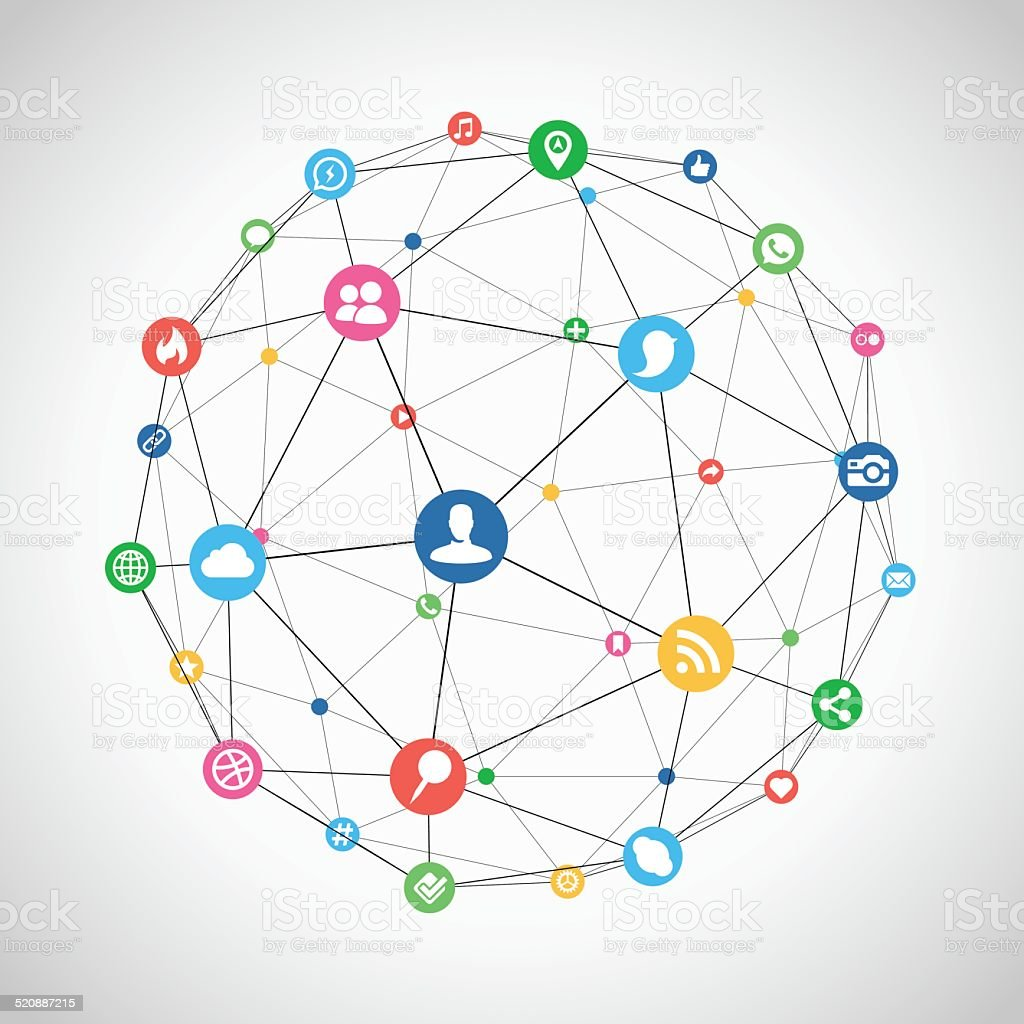 Connected Social Network vector art illustration