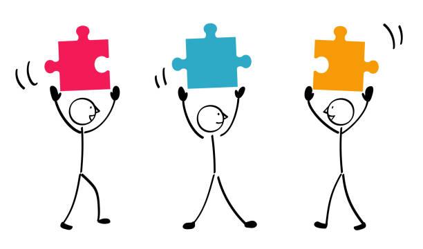 stockillustraties, clipart, cartoons en iconen met verbonden met 3 puzzels - drie personen