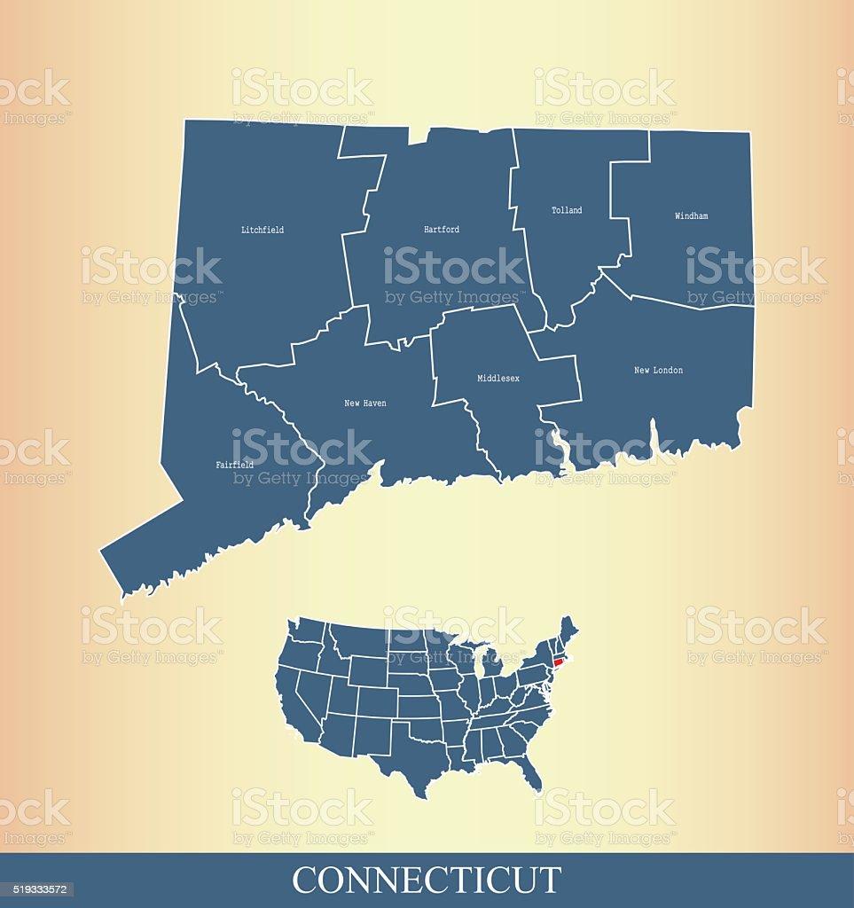 Connecticut county map outline vector illustration in creative design vector art illustration