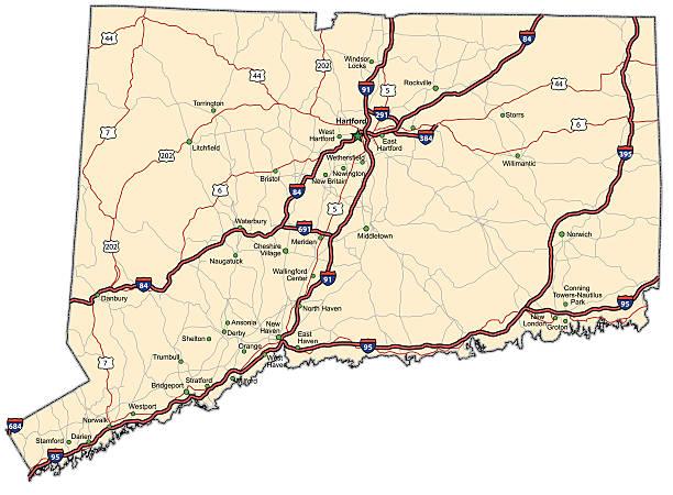 Connecticut Highway Map (vector) vector art illustration