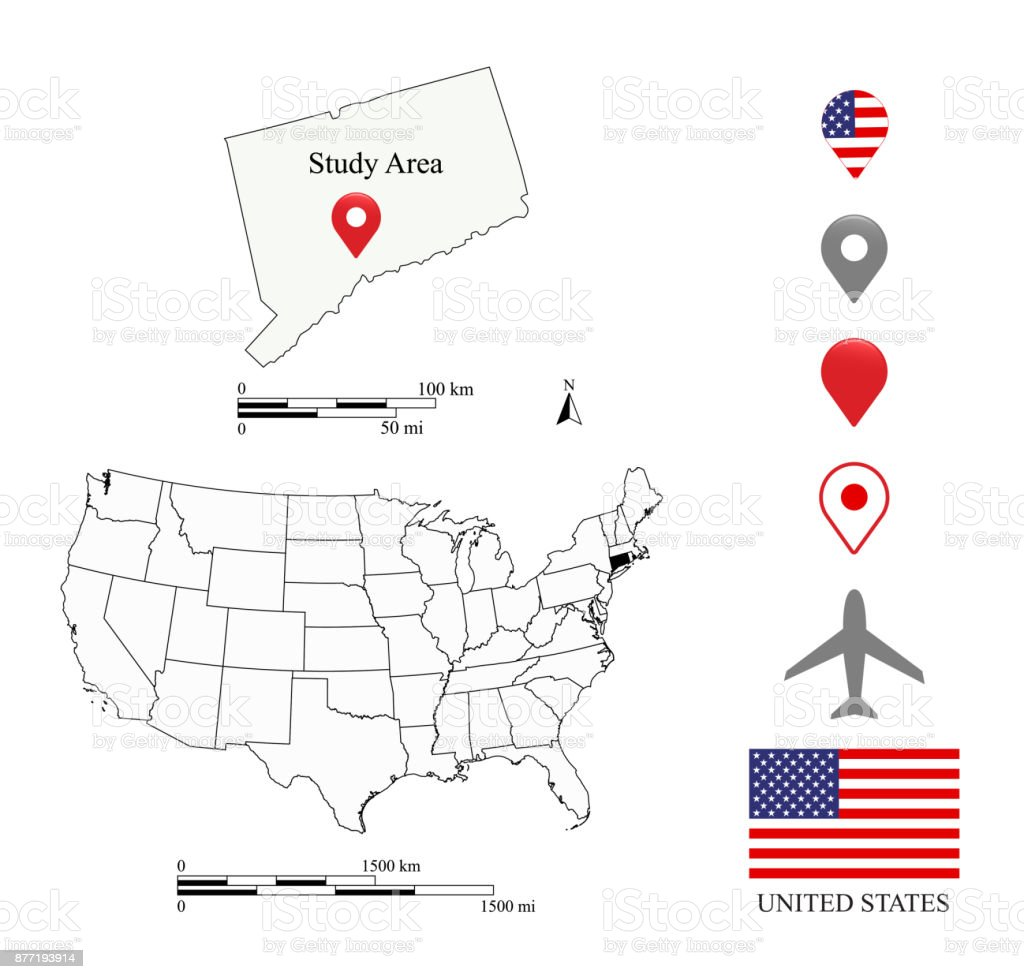 Connecticut map scale, USA map scale miles and kilometers. United States map vector outline illustration background. USA flag and navigation symbols. A creative map for educational purposes vector art illustration