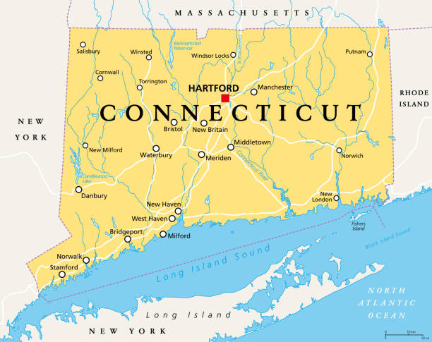 Connecticut, political map, State of Connecticut, CT vector art illustration