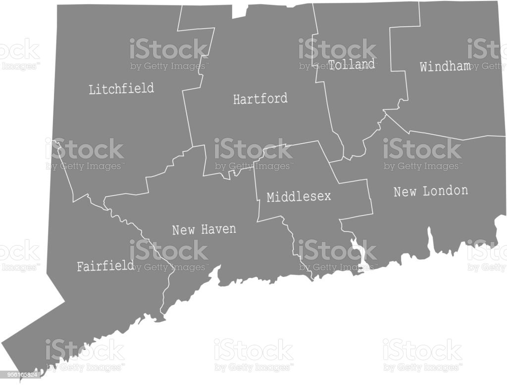 Connecticut State Of Usa County Map Vector Outlines ...