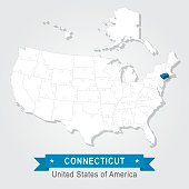Connecticut state. USA administrative map.