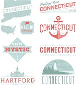A set of vintage-style icons and typography representing the state of Connecticut, including Hartford and Mystic. Each items is on a separate layer. Includes a layered Photoshop document. Ideal for both print and web elements.