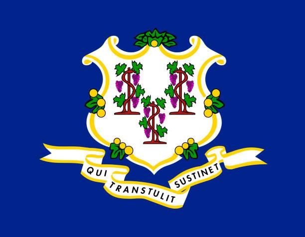 ilustrações, clipart, desenhos animados e ícones de vector bandeira de connecticut. ilustração em vetor. estados unidos da américa. - bandeira union jack