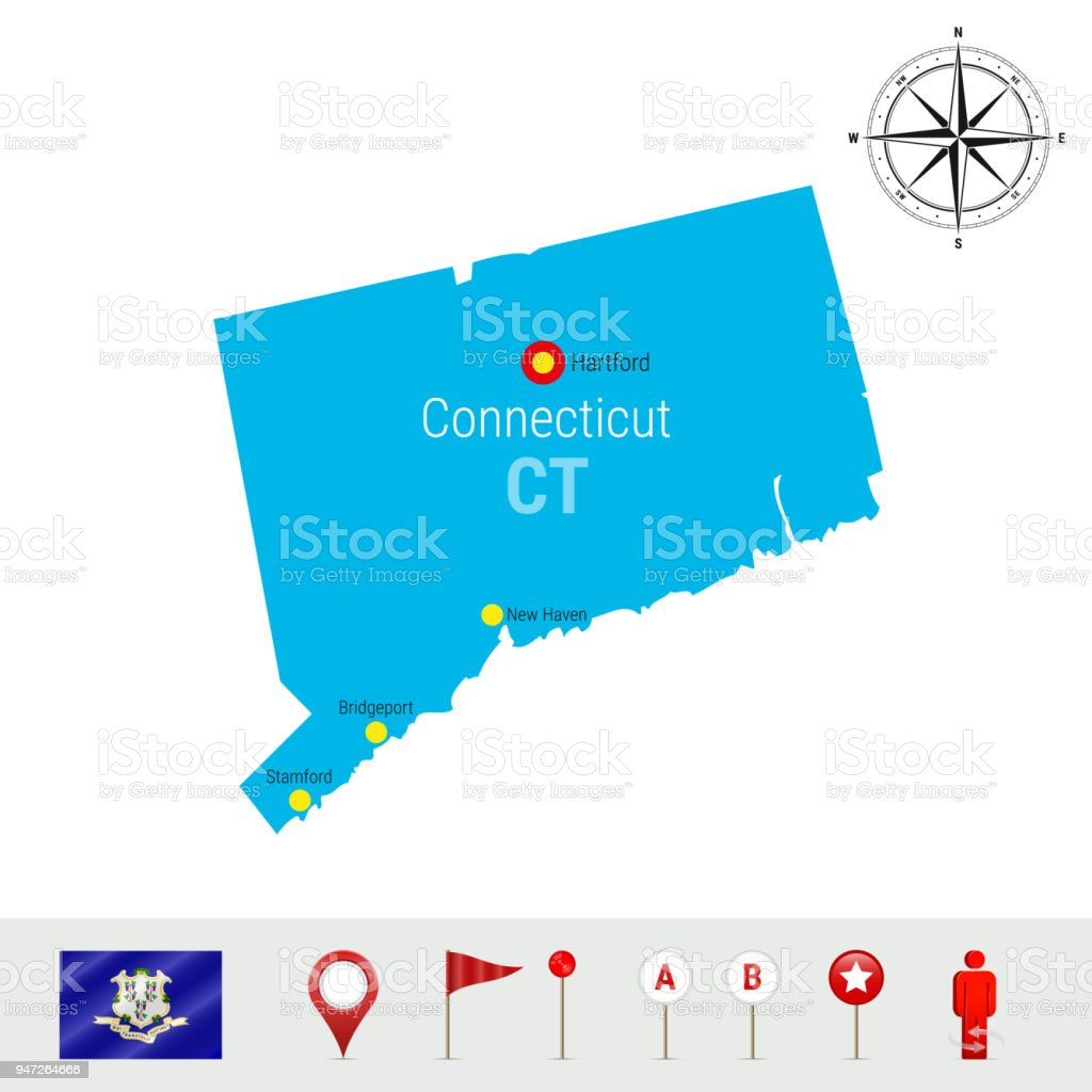 Connecticut Vector Map Isolated on White Background. Silhouette of Connecticut State. Official Flag of Connecticut vector art illustration