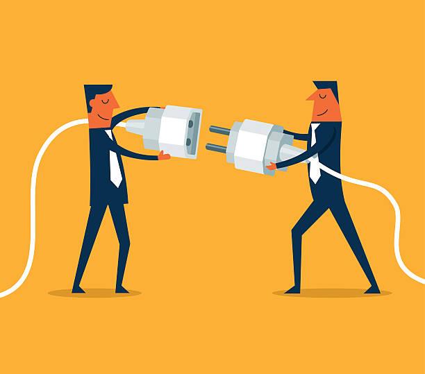 illustrations, cliparts, dessins animés et icônes de gens d'affaires communicantes - rallonge électrique