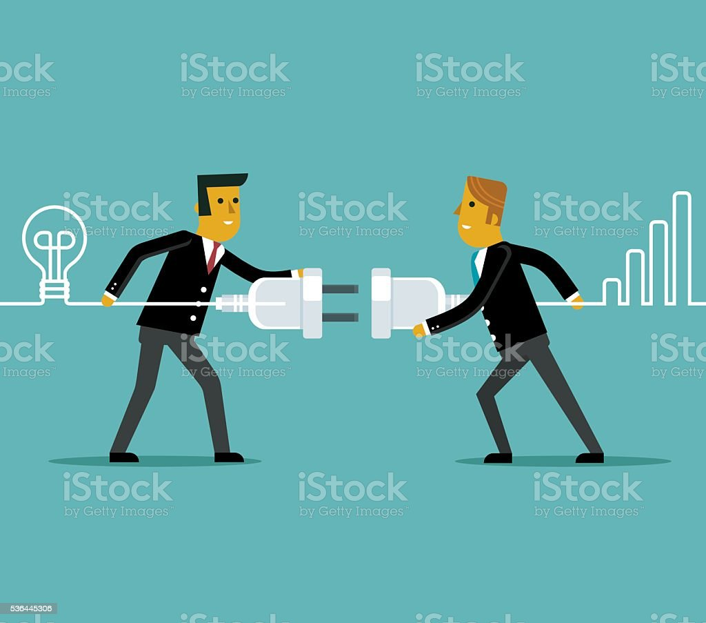Connecting business people vector art illustration