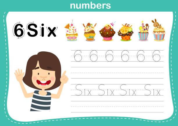 verbindende punkt-und druckbare nummern übung für vorschul-und kindergartenkinder - schulbedarfskuchen stock-grafiken, -clipart, -cartoons und -symbole