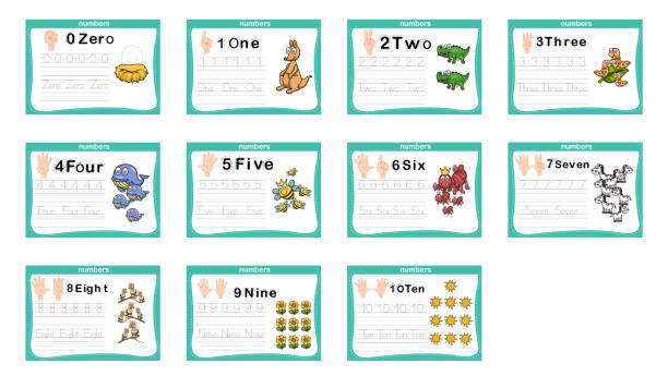 Connecting dot and printable numbers exercise for preschool and kindergarten kids vector art illustration