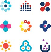 Connecting innovation new dots technology research app creativity logo icons