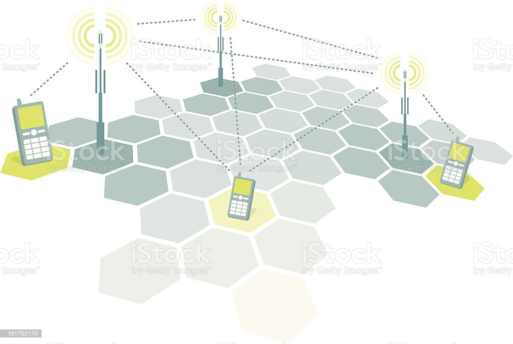 Connecting mobile phones / Telecomm Explanation/diagram of the cell phone network functioning. Antenna - Aerial stock vector