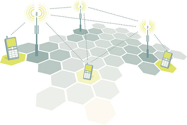Connecting mobile phones / Telecomm Explanation/diagram of the cell phone network functioning. repeater tower stock illustrations