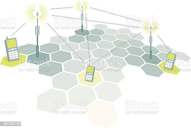 Connecting Mobile Phones Telecomm Stock Illustration - Download Image Now