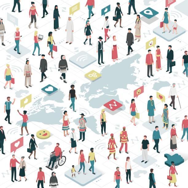 Conectar a gente de todo el mundo - ilustración de arte vectorial