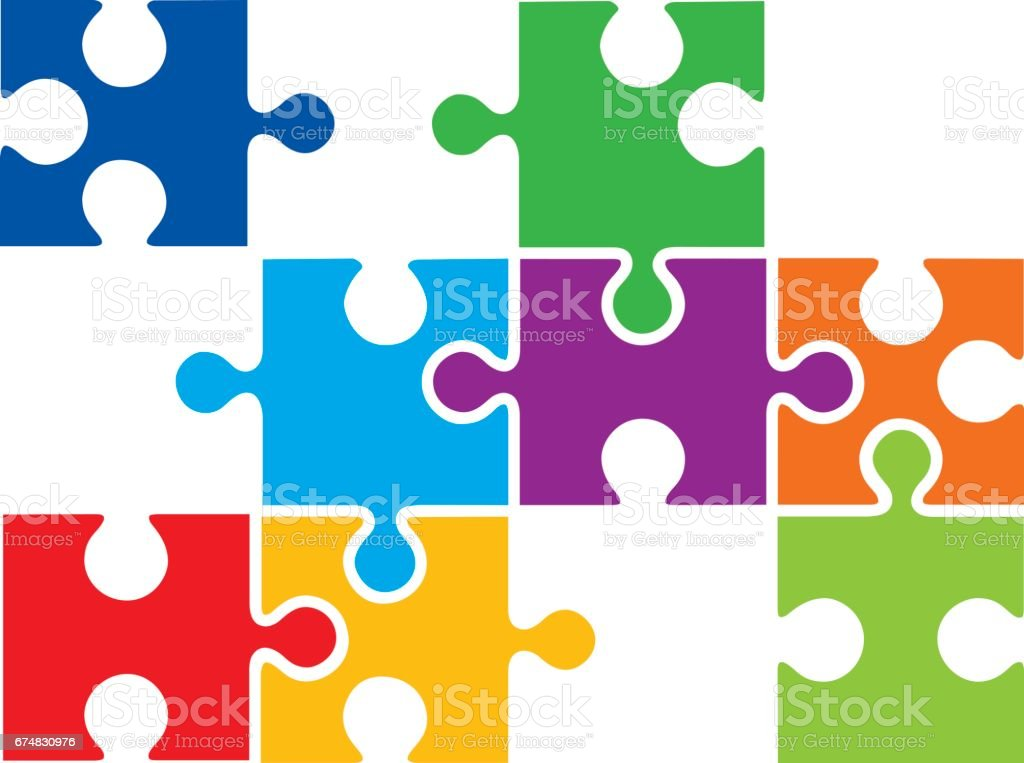 connecting puzzle pieces stock vector art more images of business